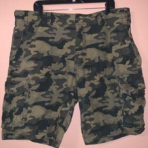 Men's green camo cargo shorts